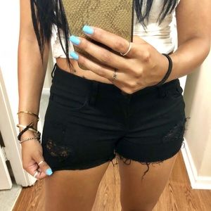 Forever 21 black distressed shorts